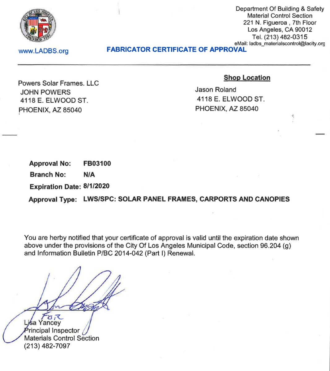 City of Los Angeles Approved Steel Fabricator